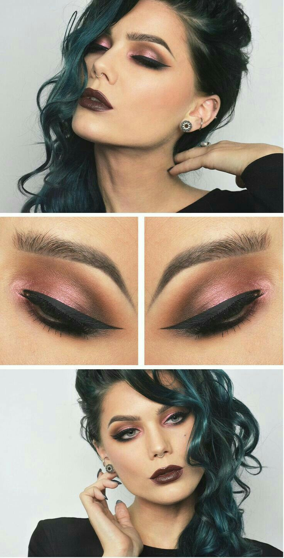 Sombra color rosa metálico. Makeup eyeliner, Trendy