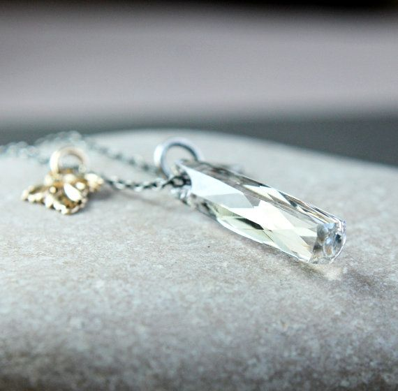 Clear Swarovski Necklace  Oxidized Silver Mixed Metal by Hildes