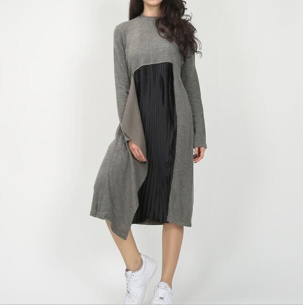 [TWOTWINSTYLE] Autumn Interesting Clipping Splicing Design Chiffon Draped Stitching Knitted Long Loose Style Dress Women
