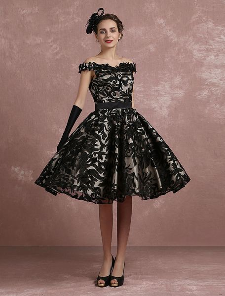 fe90abaa20a Black Prom Dresses 2017 Short Off The Shoulder Prom Dress Vintage Cocktail  Dresses Lace Sweetheart Pleated A Line Knee Length Party Dress