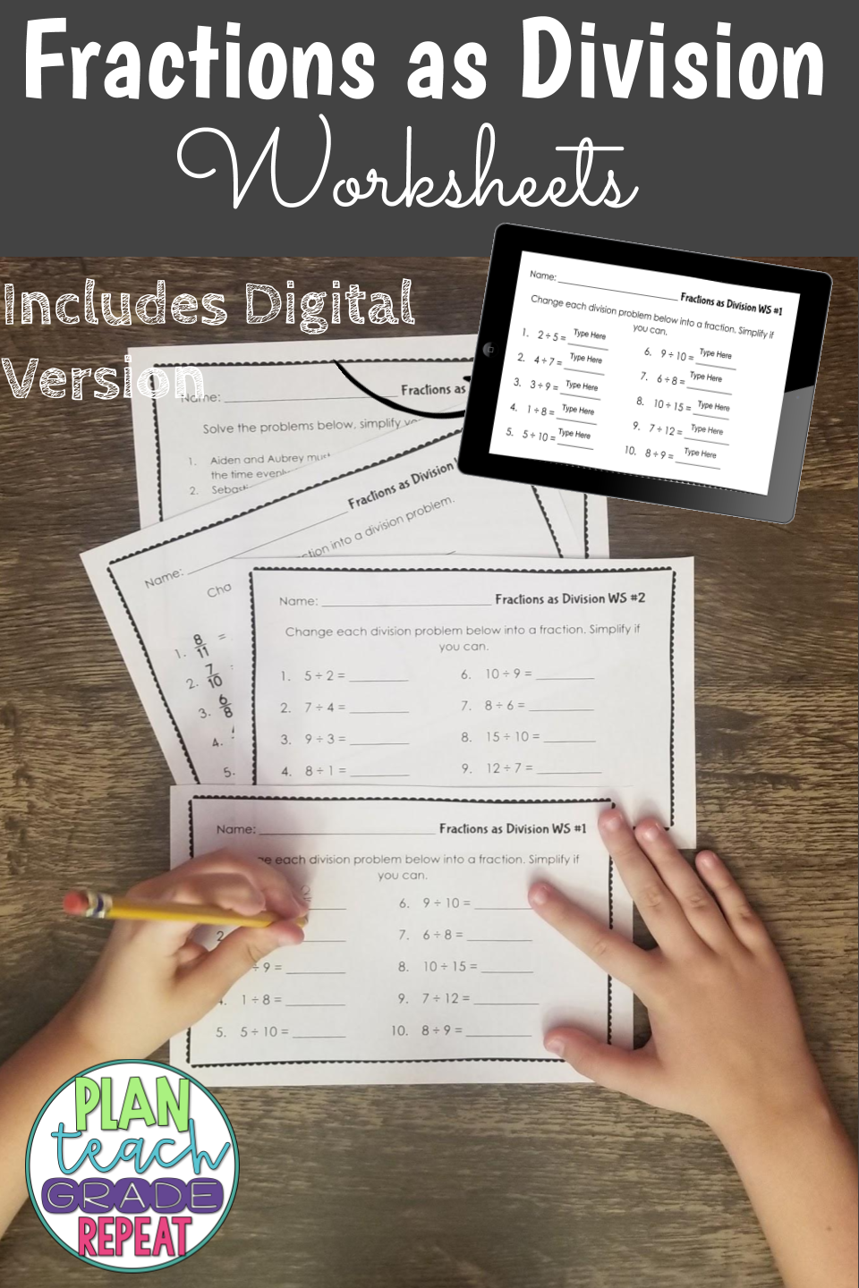 hight resolution of Fractions as Division Worksheets - 5.NF.3   5th grade math