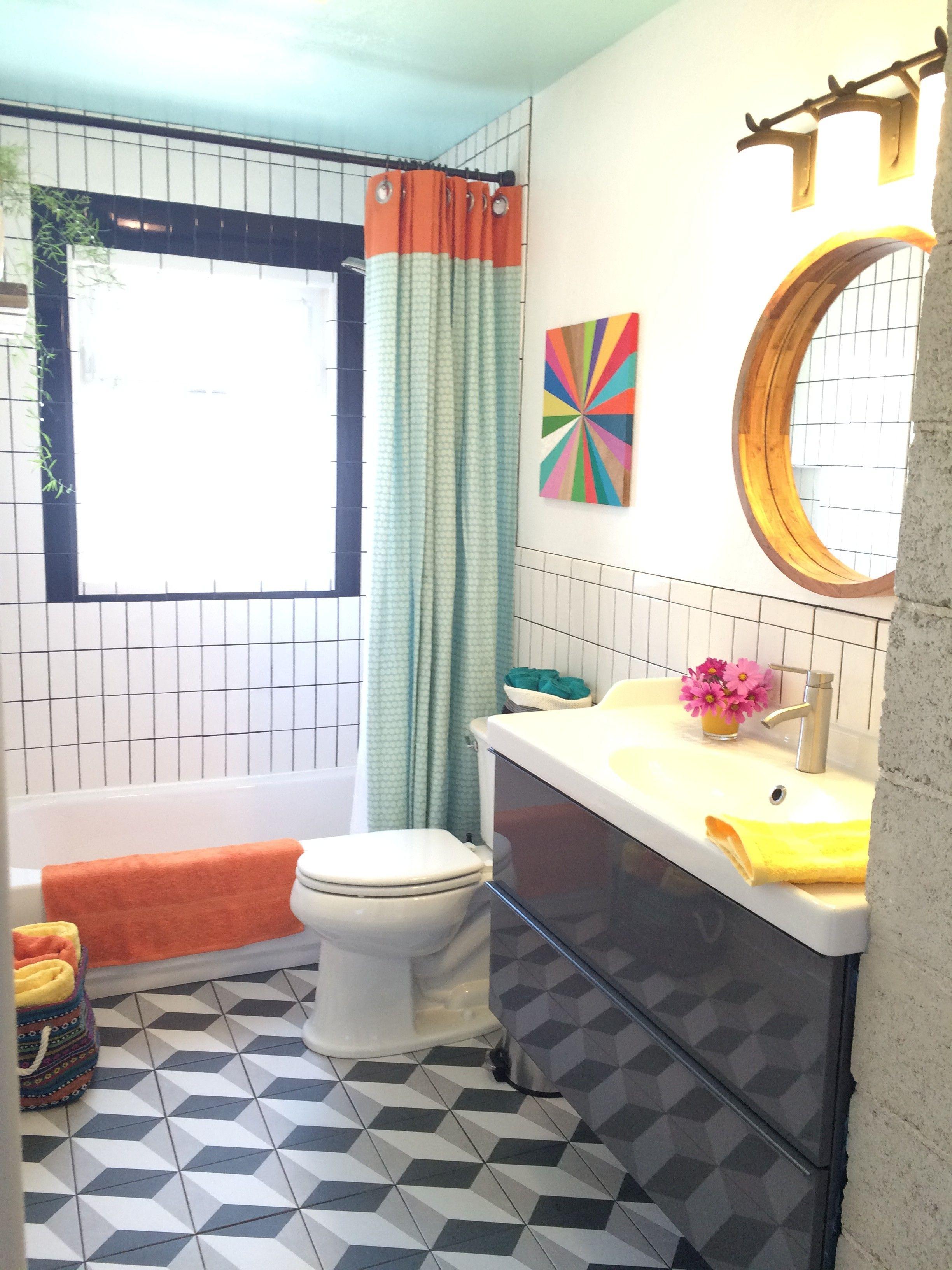 Superbe Bright And Peaceful Bathroom Remodel, Black And White, Merona Tile, Ikea  Vanity,