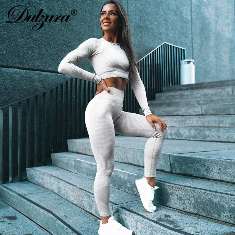 Dulzura 2019 winter women two piece set crop top pants knitted active wear streetwear coord matching clothes stripe sexy fitness 2
