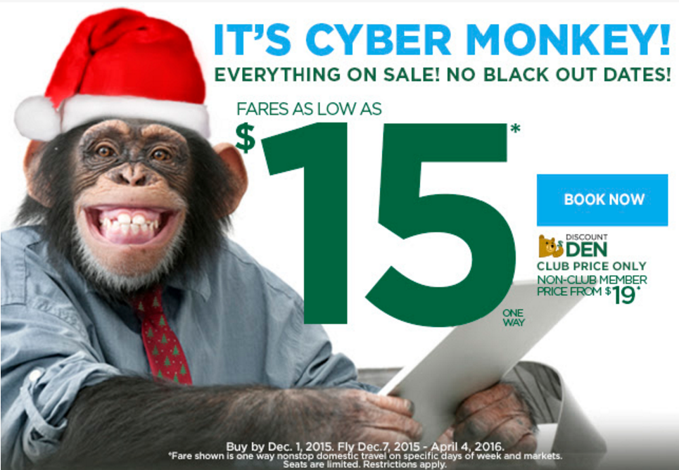 Frontier Airlines Cyber Monday Sale Fares From 15 Or 19 Each Way Cyber Cyber Monday Airfare Deals