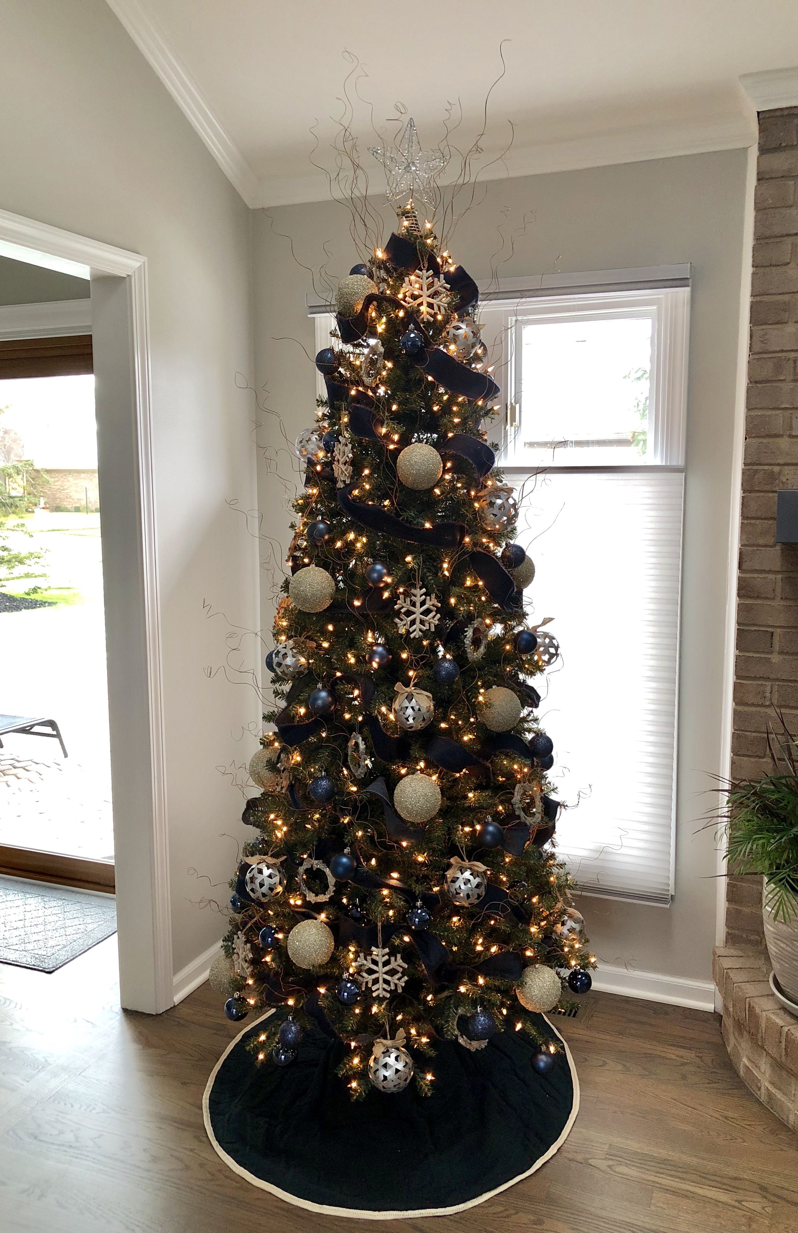 Navy blue, champagne, and silver Christmas tree Blue