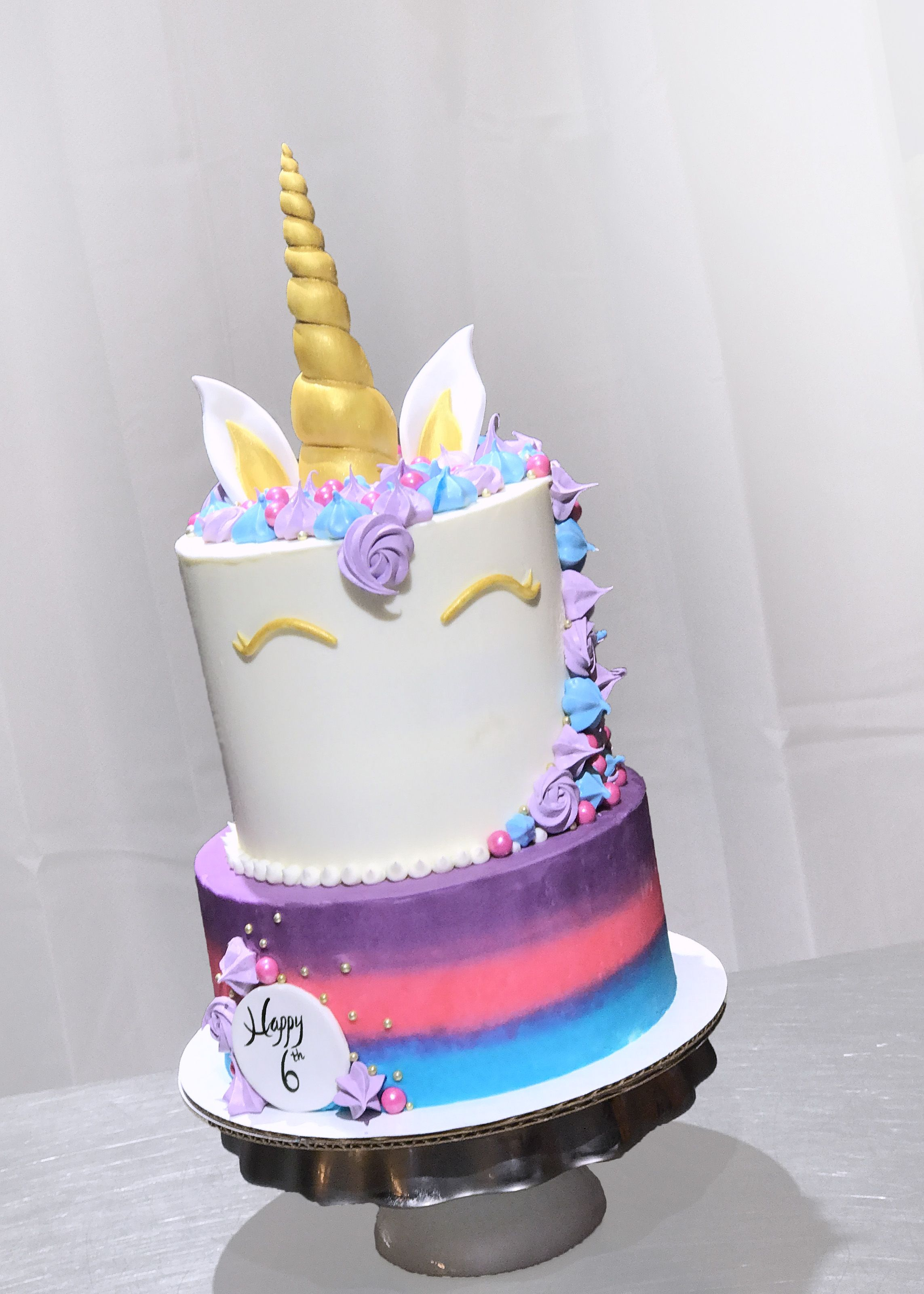 Unicorn Birthday Cake Purple Pink Blue Gold Meringues Gold Birthday Cake Cake Cupcake Birthday Cake