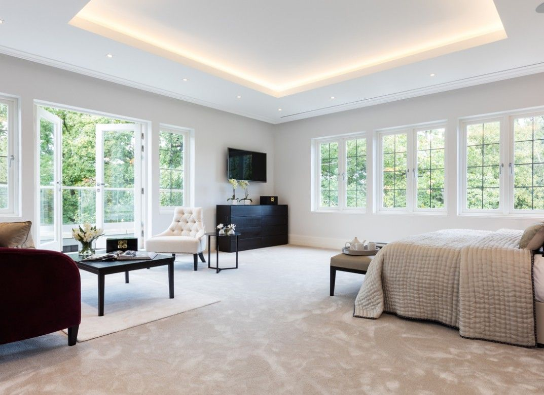 LED ribbon in the coffered celing provides a gentle, glare free ...