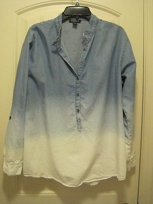 b735ccdbba Details about Ladies Blue Vanilla ombre soft cotton chambray shirt ...