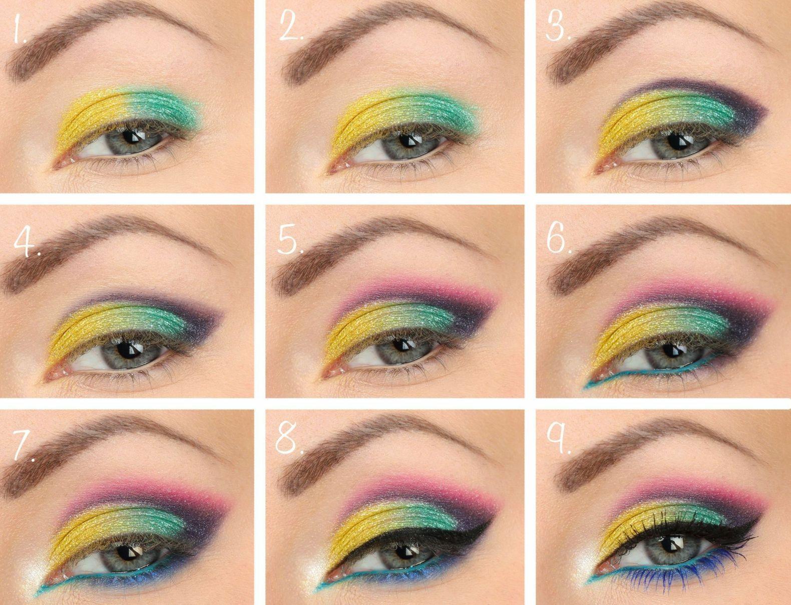 80s Makeup Neonfarben Lidschatten 80er Jahre Makeup Anleitung