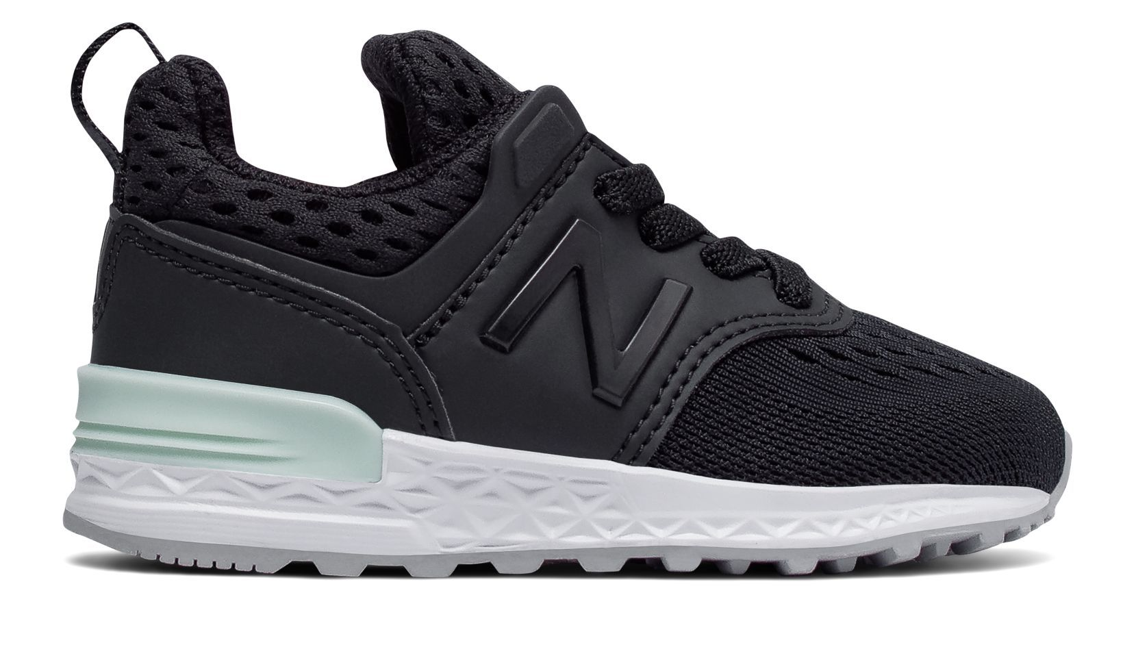 New Balance 574 Sport, Black with Seafoam Toddler shoes