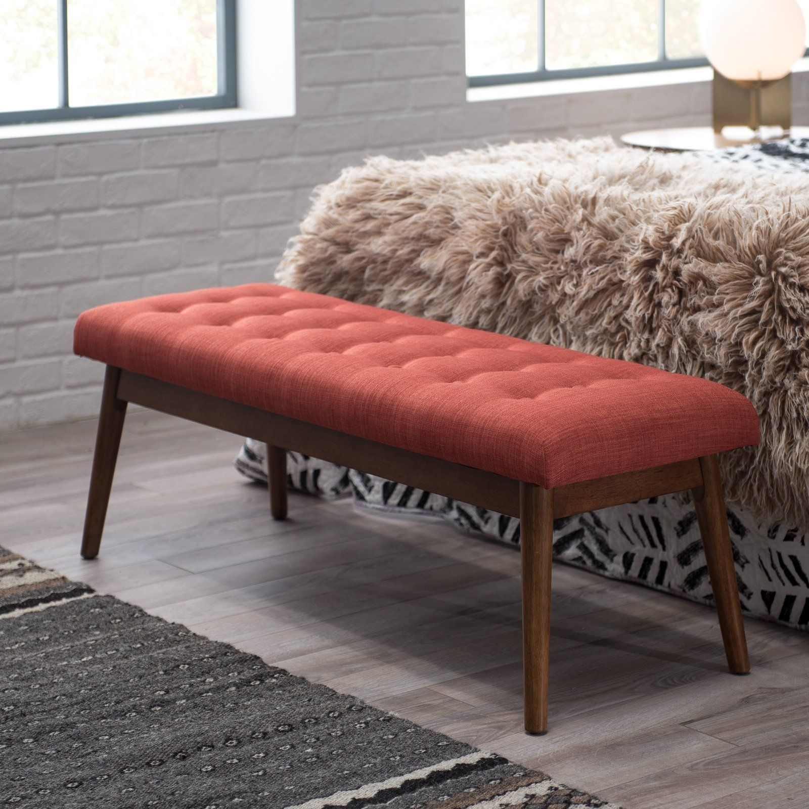 Belham Living Darby Mid Century Modern Upholstered Bench Orange Upholstered Bench Mid Century Modern Coffee Table Upholster