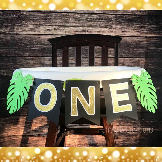 Wild ONE, Jungle, Safari High Chair Banner for 1st Birthday Party