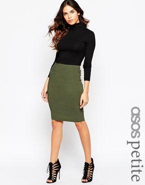 Asos Womens Petite Tailored High Waist Pencil Skirt Khaki - Skirts
