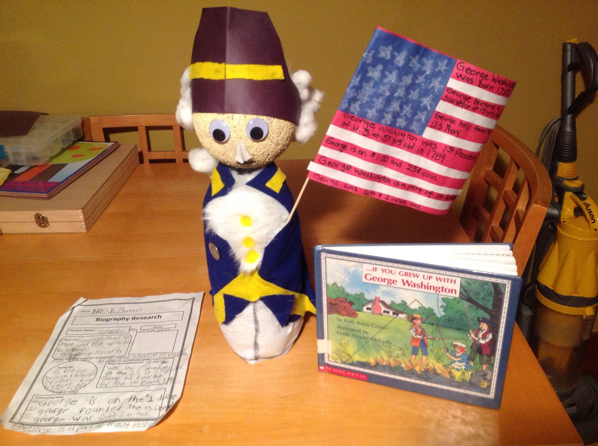 George Washington President Biography Bottle 3rd Grade