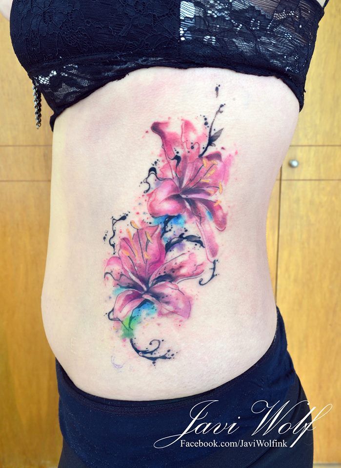7fcc74306 Javi Wolf Tattoo- watercolor, flowers on side. Tattoo artist from Mexico  City.