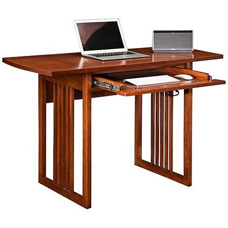 Mission Oak 47 1 2 Wide Drop Leaf Computer Writing Desk 1r159 Lamps Plus Oak Desk Writing Desk Desk