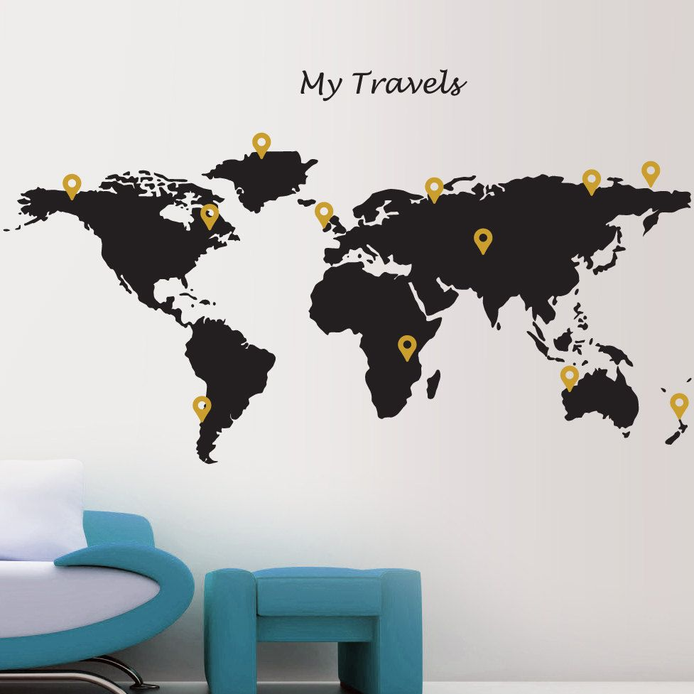 Map wall sticker globe world my travels with free marker dots vinyl map wall sticker globe world my travels with free marker dots vinyl wall stickers gumiabroncs Images