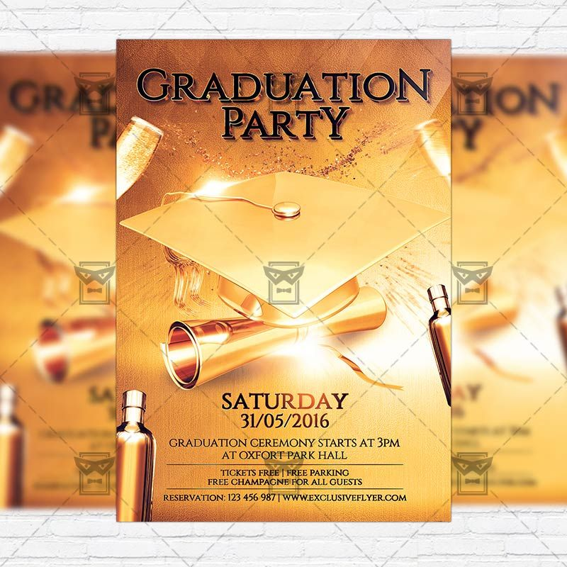 Graduation Party - Premium Flyer Template + Facebook Cover   - flyer invitation templates free
