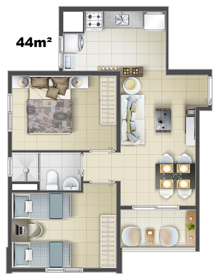 44m2 final 3 e 6.jpg Projeto de apartamento, Casa de