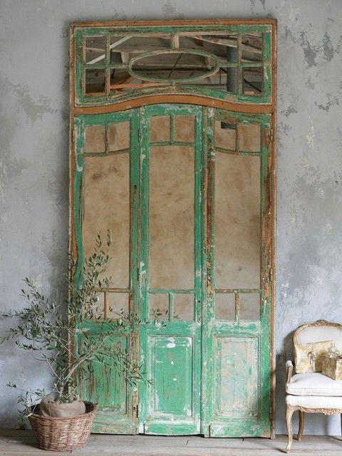 Vintage Mirror Doors in Chippy Green