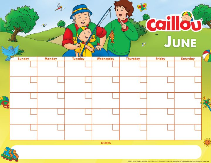 June Calendar Writing Prompts : Printable caillou calendar june