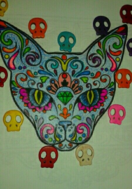Mexican Cat ♡. Dia de muertos.