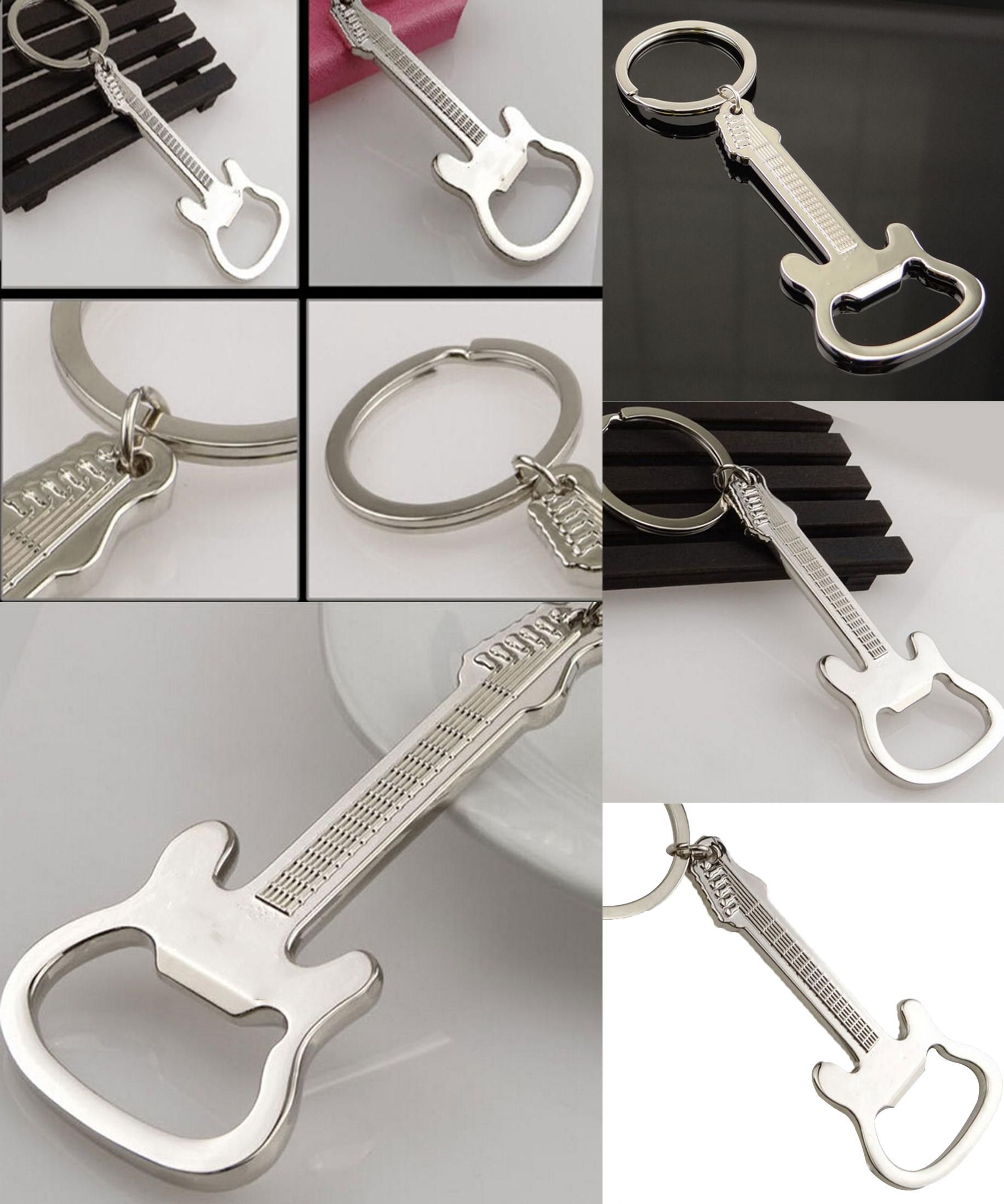 [Visit To Buy] Guitar Beer Bottle Opener Keychain Creative Kitchen  Accessories Key Ring Openers
