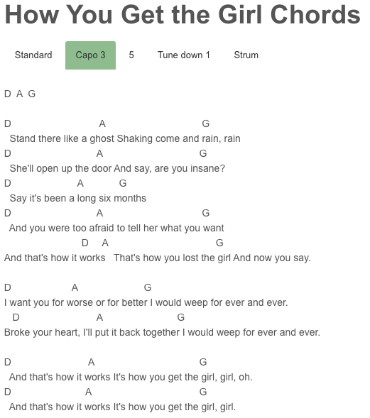 How You Get the Girl Chords Taylor Swift | Songs to Learn ...