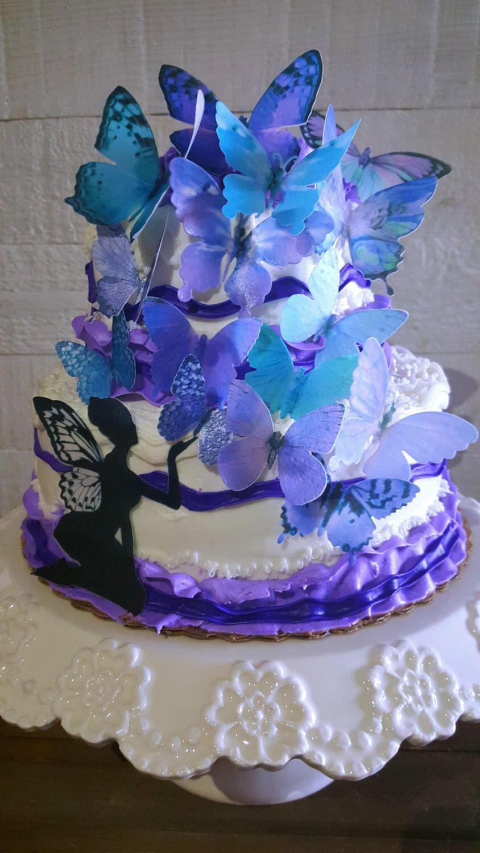 15 edible butterflies purple teal cakecupcake topper