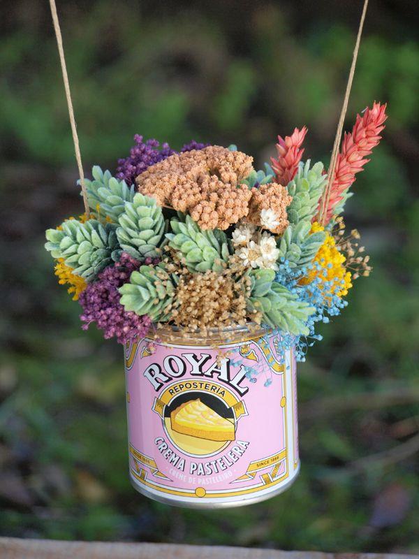 Columpio de lata Royal de flores secas y artificiales www - flores secas