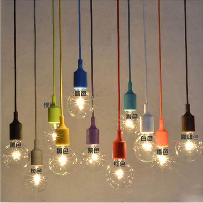 Modern Colorful E27 Silicone Rubber Pendant Light Diy Vintage Lamp Holder Socket Hanging Cord Lamp Fixtu Vintage Light Bulbs Diy Pendant Light Diy Pendant Lamp