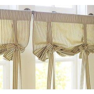 Ticking Stripe Ribbon Tie Curtain Pottery Barn Polyvore