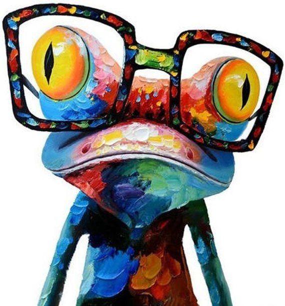 Photo of FROG ART Cross Stitch Pattern PDF, Modern Embroidery Wall Decor, Painting Animal Crazy Frog Counted Cross Stitch Pattern, Instant Download