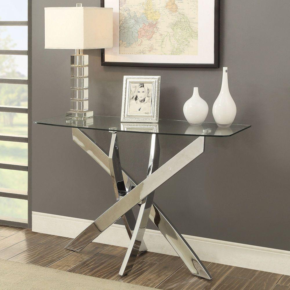 Chrome Sofa Table Modern Gl Top Home Furniture Decor Accent Entryway Garden