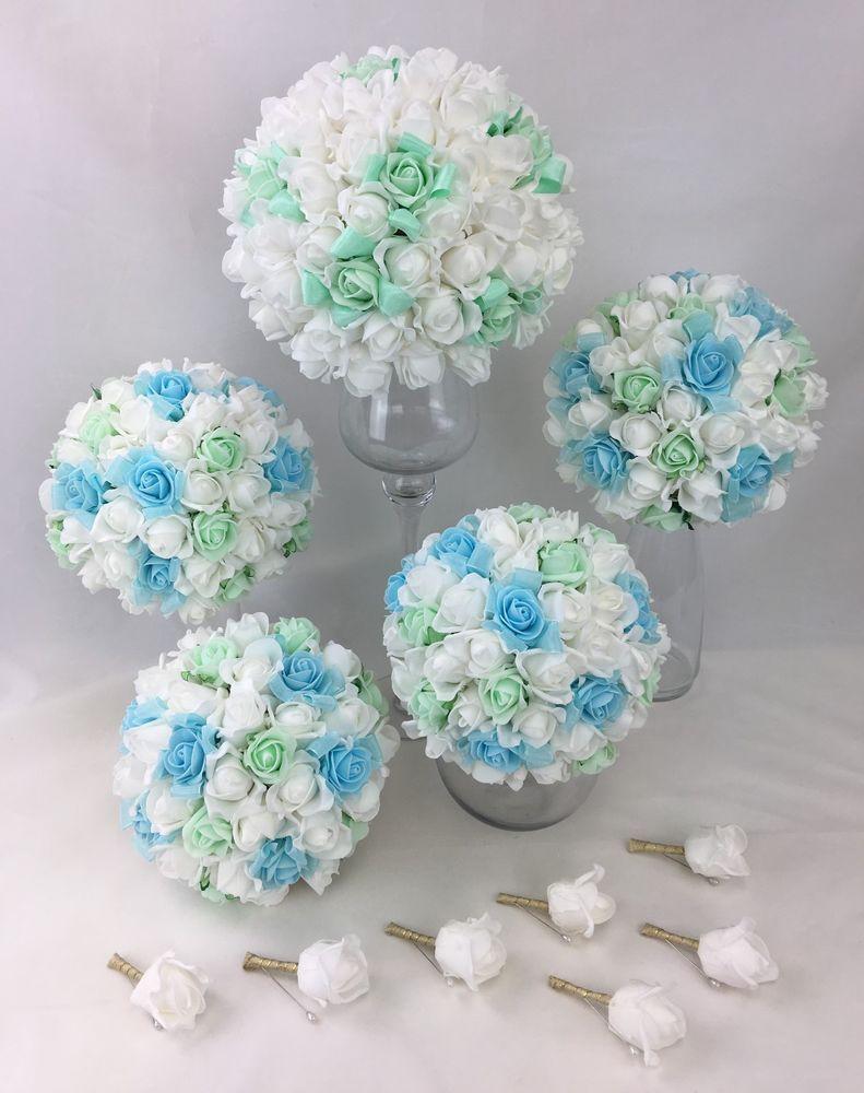 Artificial Flower Light Bluegreen White Foam Rose Bridal Wedding