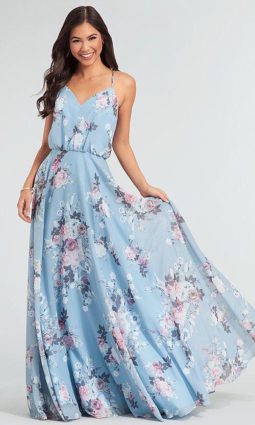 Floral-Print Chiffon Bridesmaid Dress by Kleinfeld | Wedding Gowns ...