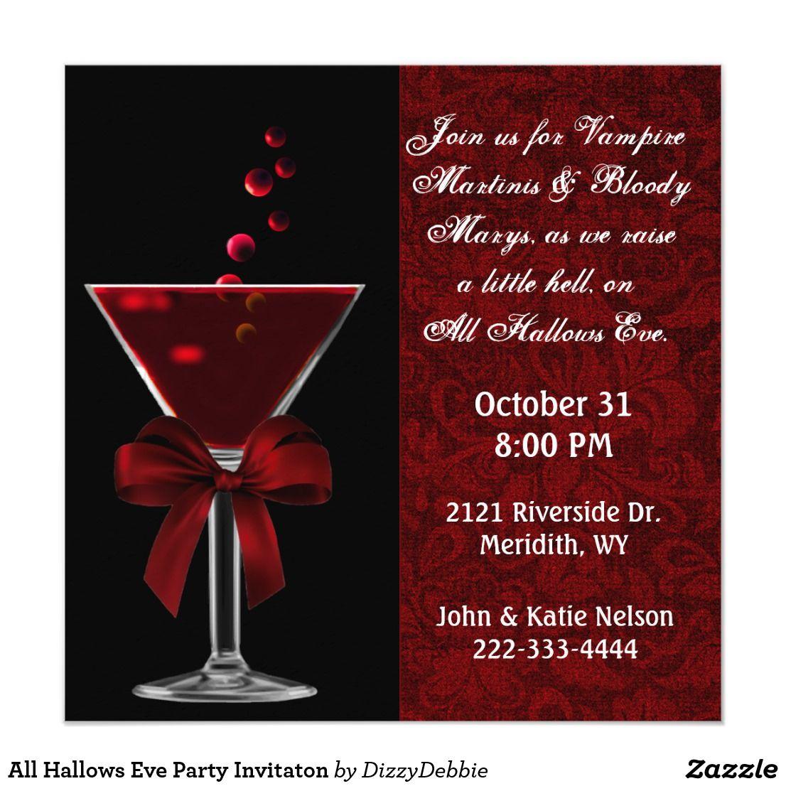 All Hallows Eve Party Invitaton Invitation Zazzle Com Hallows Eve Halloween Party Supplies Adult Halloween Invitations