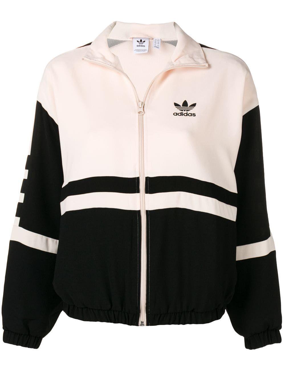Comunismo Mandíbula de la muerte Intestinos  Adidas Logo en dos tonos de la Chaqueta | Adidas hoodie women, Adidas  jacket women, White adidas jacket