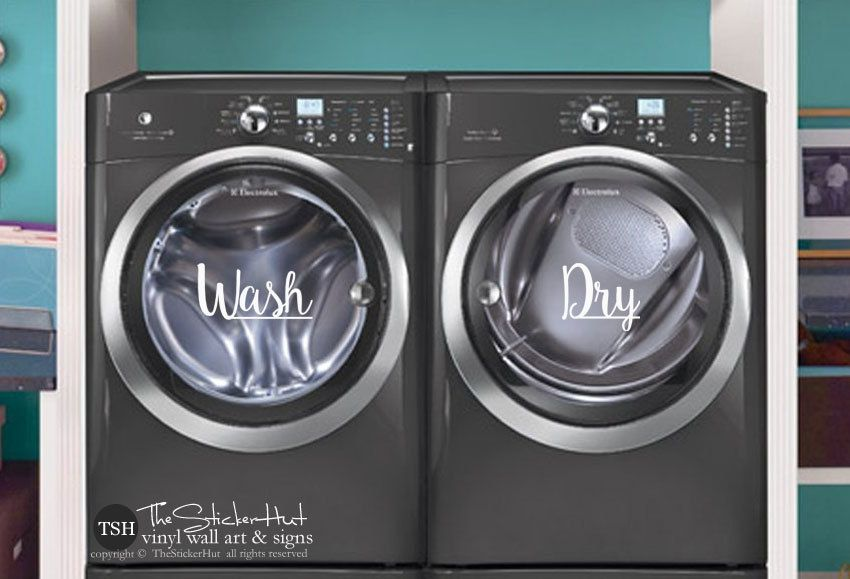 Wash dry decals laundry room decor vinyl lettering removeable washer dryer decor wall art words text door sticker decal 1889