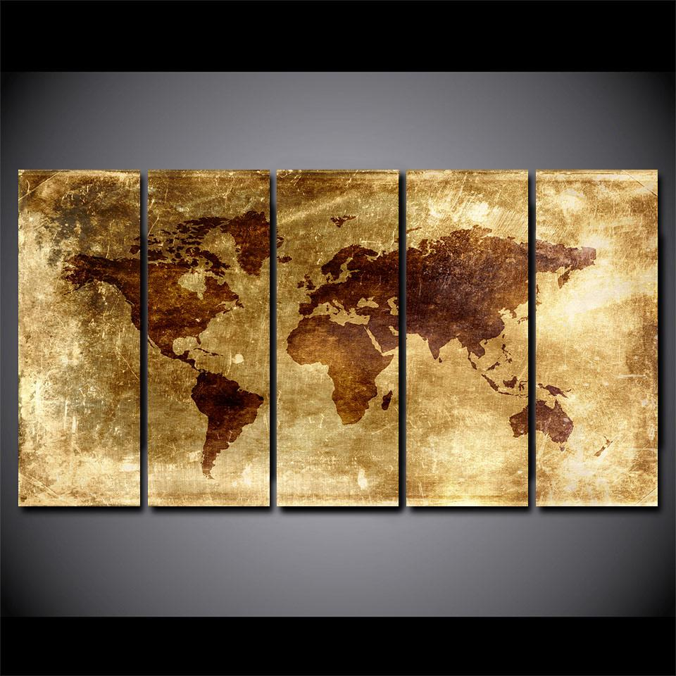 Vintage World Map Picture Poster /Print Home Decor Modular Wall Art ...