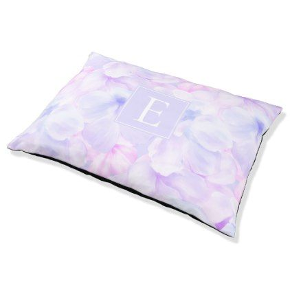 Pink and Purple Blossoms with Monogram Pet Bed