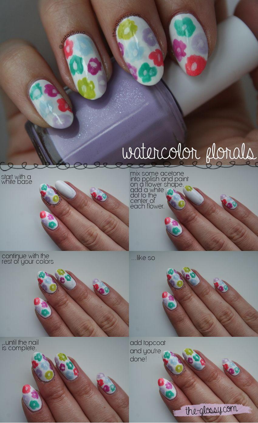 Watercolor Floral Nail Art Tutorial Cool Nails Pinterest Art