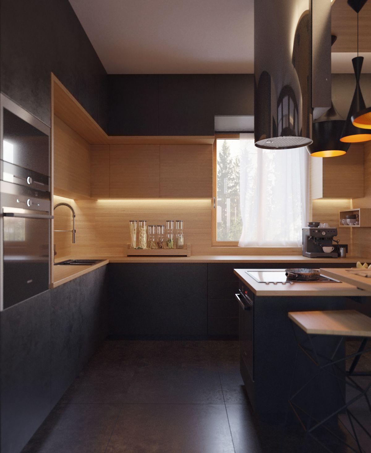 Black kitchen on Behance | Interior design | Pinterest | Küche ...