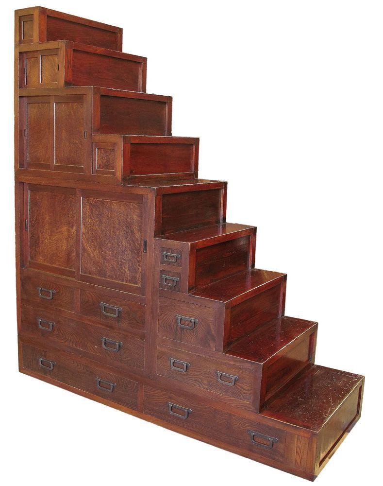 Antique Japanese Kaidan Tansu, Step Chest 4 pc Furniture - Antique Japanese Kaidan Tansu, Step Chest 4 Pc Furniture Japanese