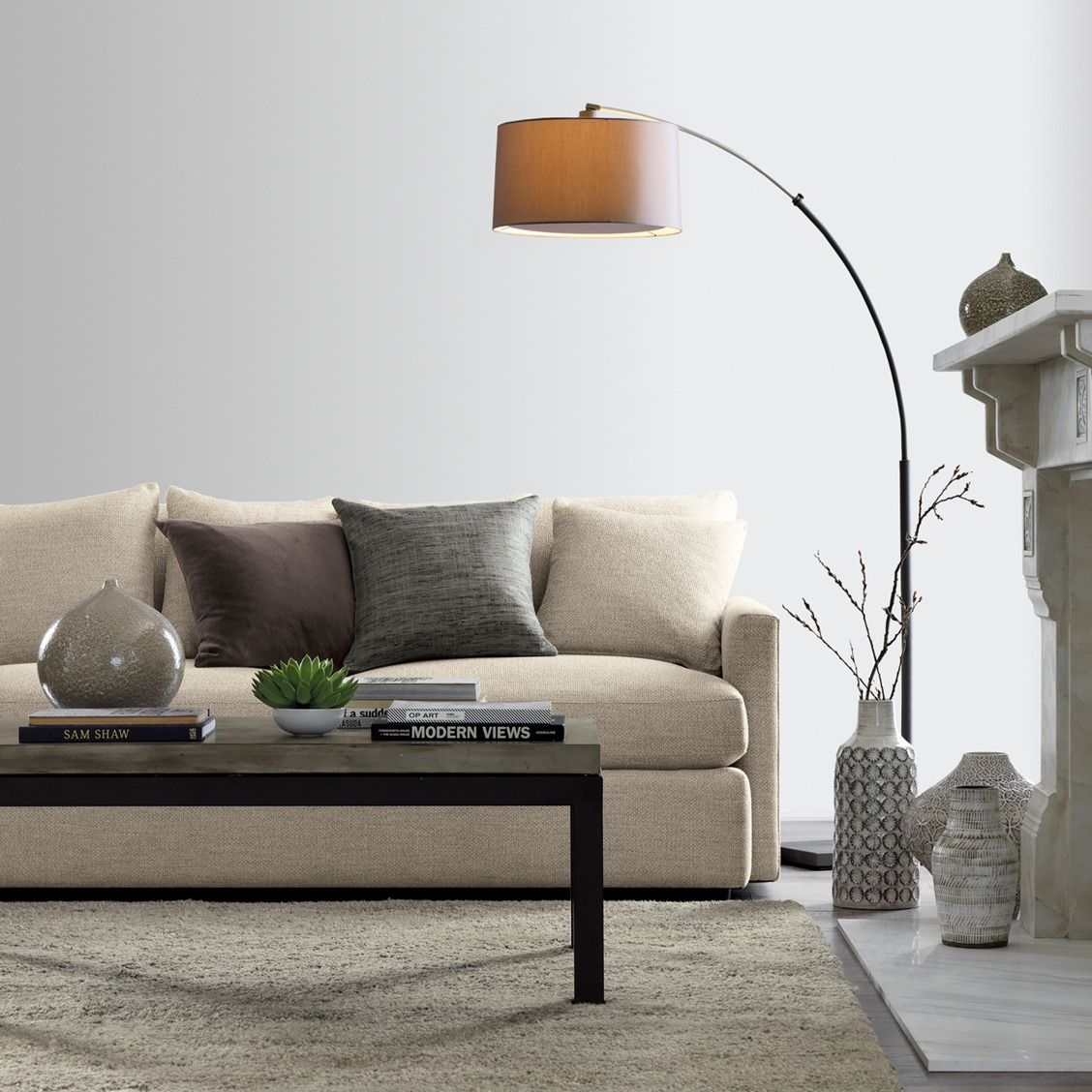 Dexter Arc Floor Lamp with Grey Shade | Top drama, Drum shade and Steel