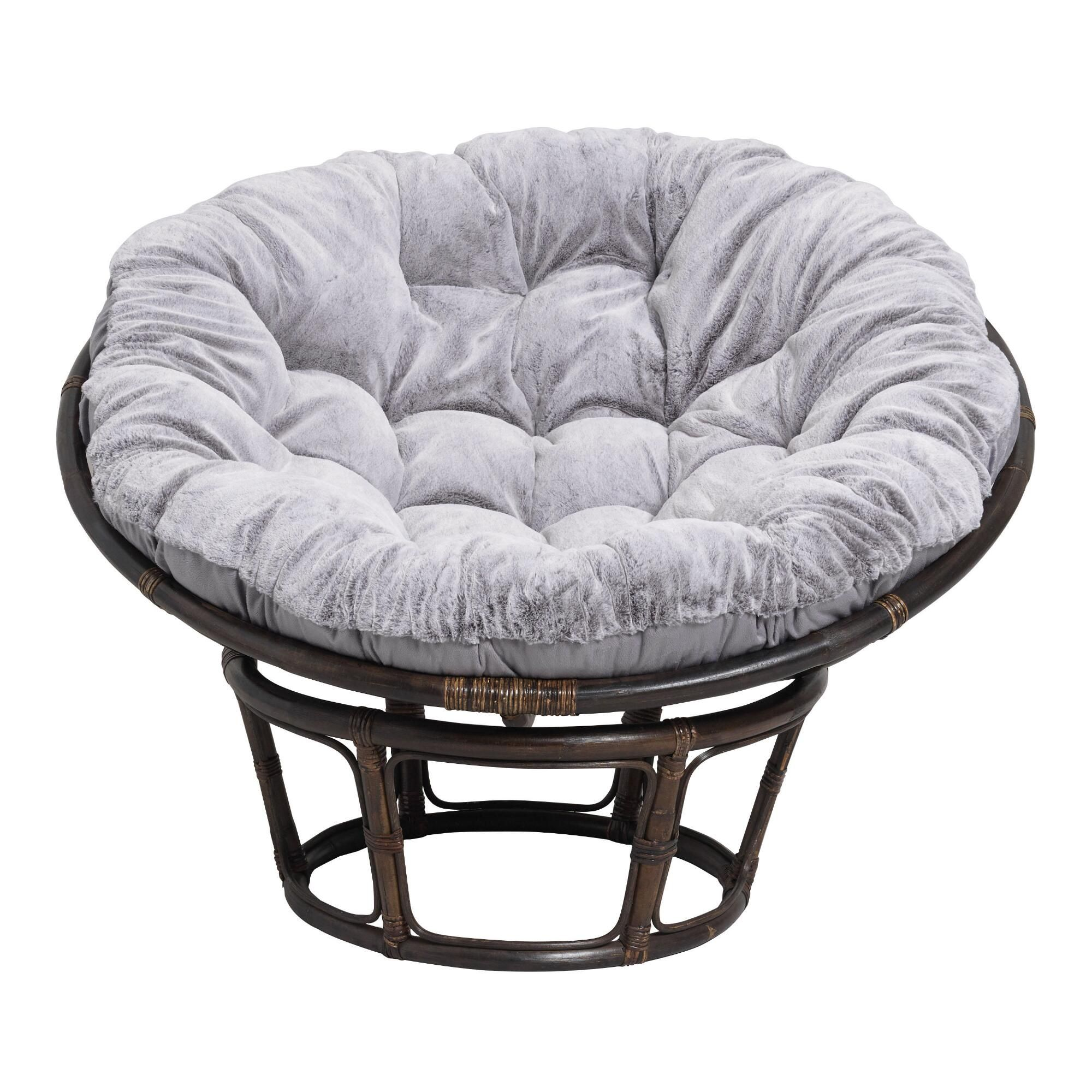 Gray Faux Fur Papasan Chair Cushion Papasan Chair Papasan Chair Cushion