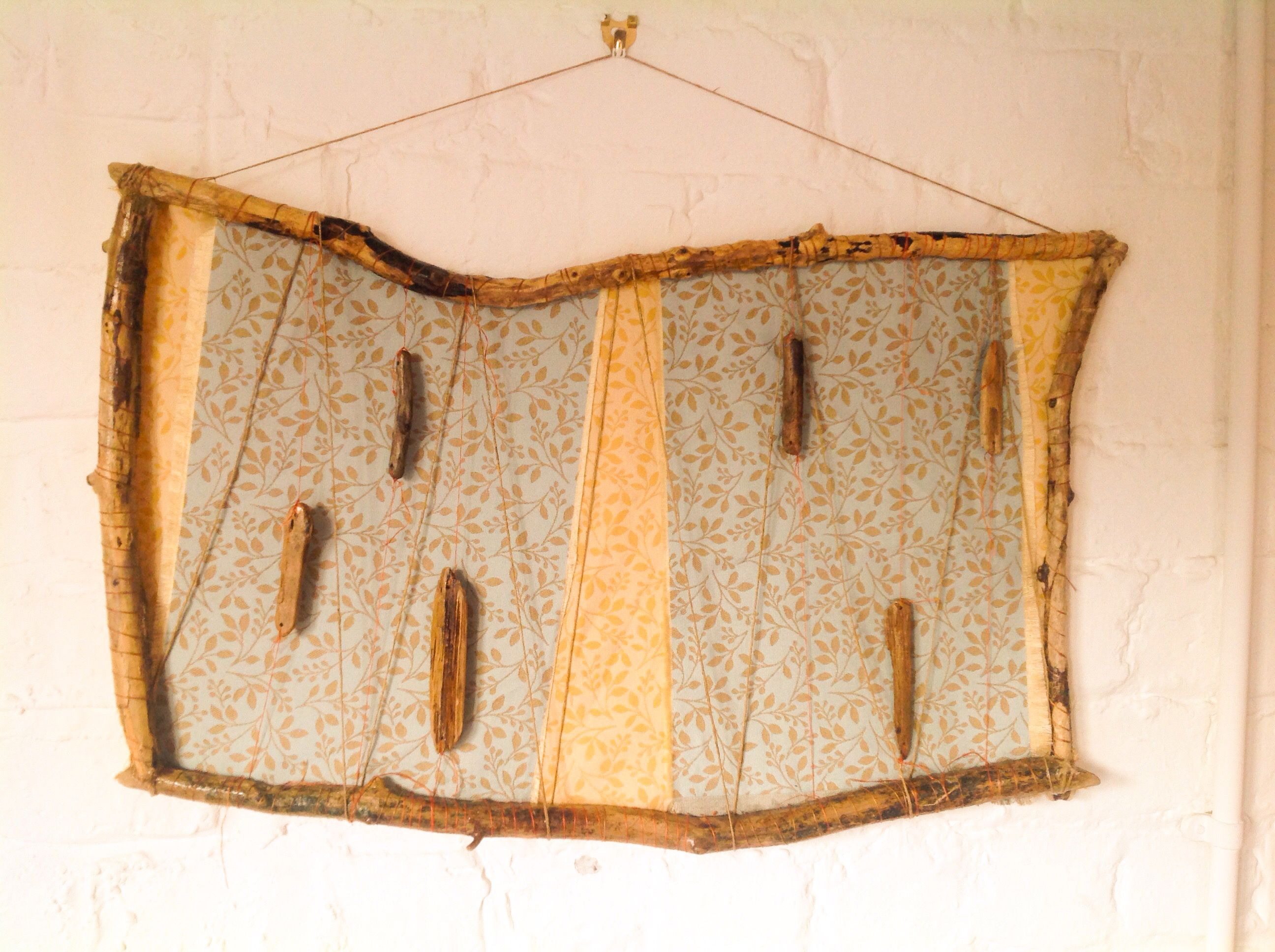 Wall hanging made from driftwood, twine and beautiful fabric panels ...