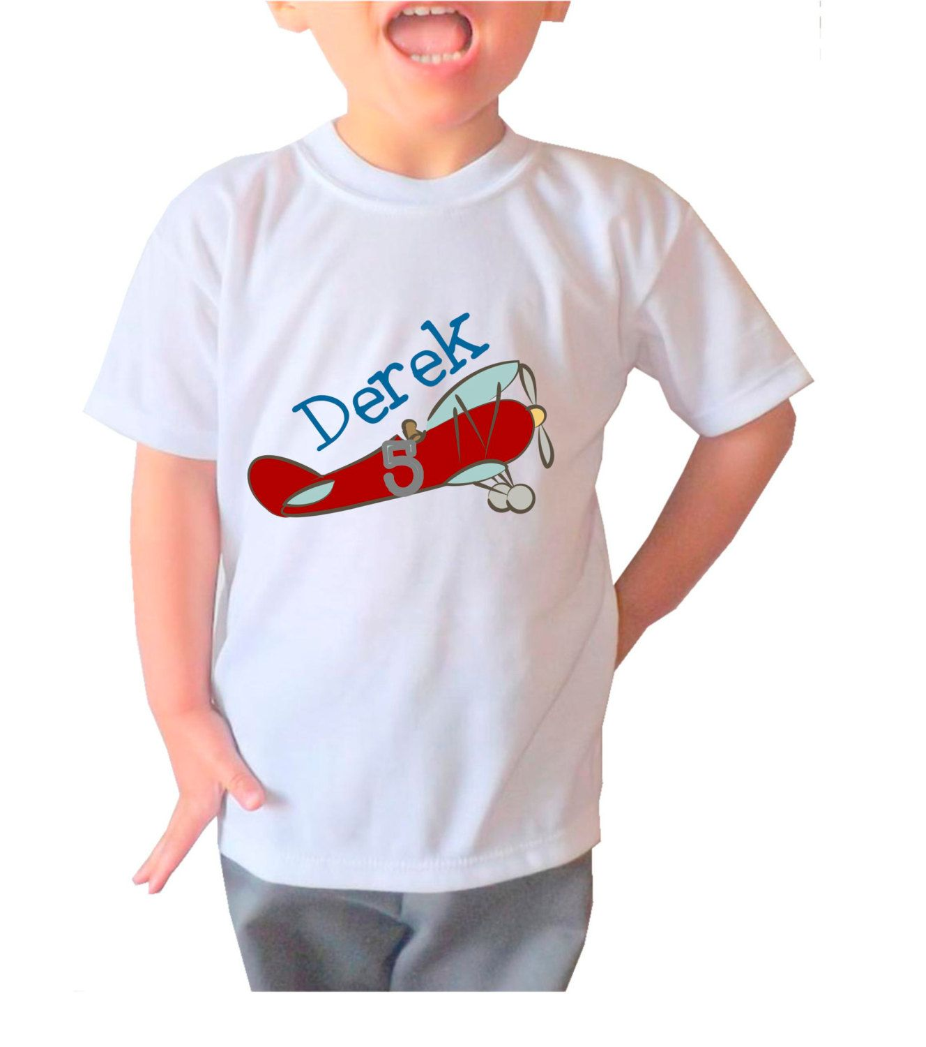 Fun Boys' Red Airplane Personalized with your child's Age and Name White T-Shirt by 5MonkeysDesigns on Etsy