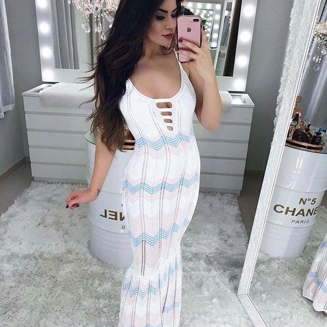 205c61b7c264 ✨Coleção Verão 2018✨ Vestido Tricolor Strappy, de Tricot Tamanho Único,  disponível em