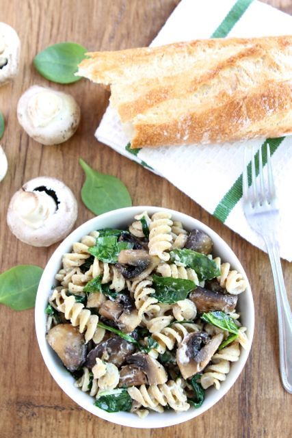 Creamy Goat Cheese Pasta with Spinach & Mushrooms | The ...